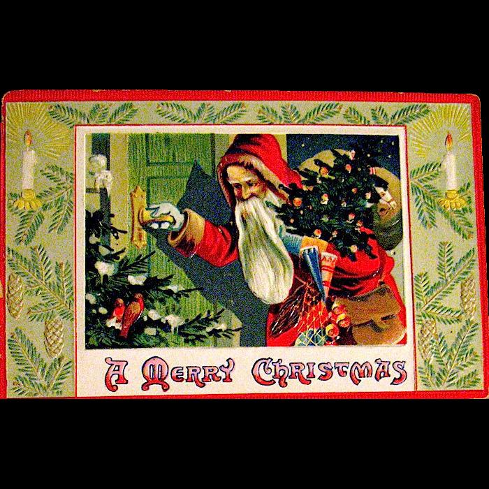 Saxony Printed Christmas Postcard, Old World Santa Claus