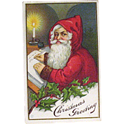 James E.Pitts Series 61 Christmas Postcard, Classic Santa Claus