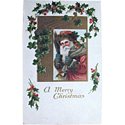 1909 Early Stern Santa Claus w Switches Christmas Postcard