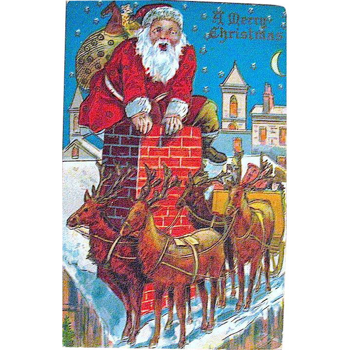 Winsch Back Christmas Postcard, Santa Claus Can't Fit in the Chimney