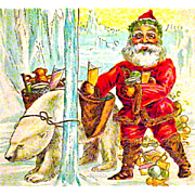 Fantasy Christmas Postcard, Santa Claus and His Polar Bear Helper
