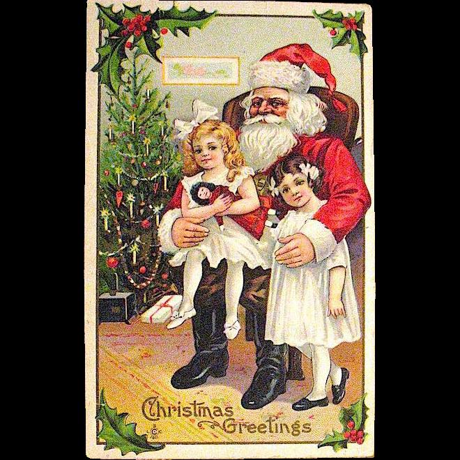 Excellent Antique Christmas Postcard, Santa Claus w Sisters