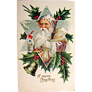 Santa Claus Wears Purple Displayed in Star, Christmas Postcard