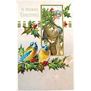 Antique Christmas Postcard Features Early Santa Claus & Blue Birds