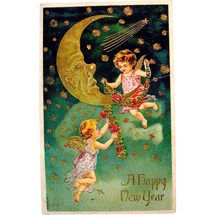 Beautiful German New Year Postcard, Large Gold Crescent Moon and Cupids