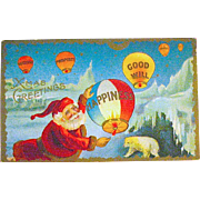 Fantasy Postcard, Santa at North Pole, Polar Bear - Red Tag Sale Item