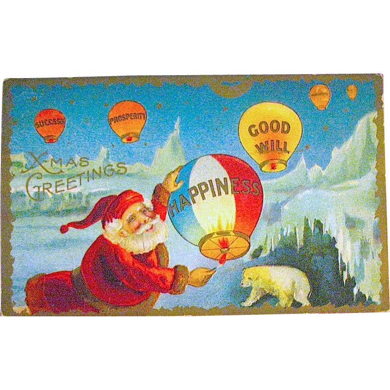 Fantasy Postcard, Santa at North Pole, Polar Bear