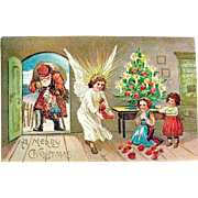 Antique German Christmas Postcard, Santa Claus, Angel & Adorable Children