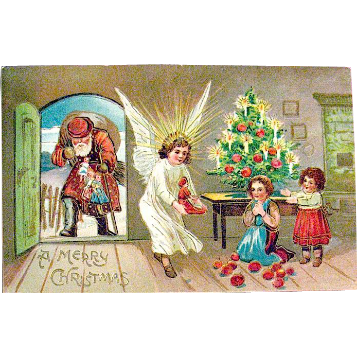 Antique German Christmas Postcard, Santa Claus, Angel & Adorable Children