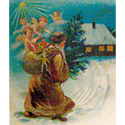 1904 Christmas Postcard, Early Santa Claus and Cupids