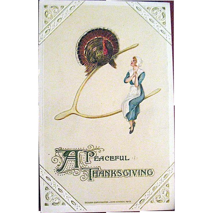 Winsch 1913 Thanksgiving Postcard Designed by Samuel Schmucker