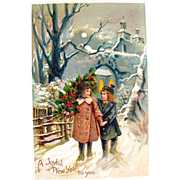 German New Year's Holiday 1909 Postcard