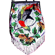 Amazing Micro Beaded Scenic Purse, Brightly Colored Bird of Paradise, Immaculate Condition