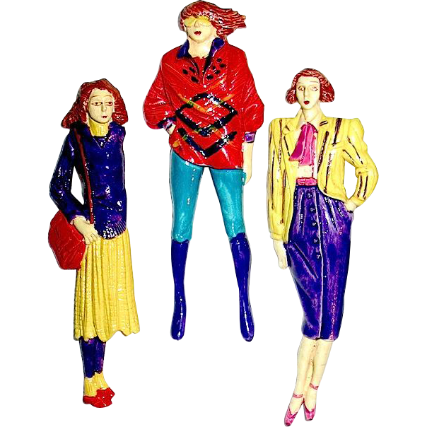 Set of 60's Carnaby Street Ladies Wearing Mod Clothing Brooches / Pins