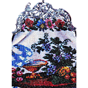 Victorian Micro Beaded Purse with Garden Scene, Ornate Silver Plated Frame—Sale, Sale, Sale Priced