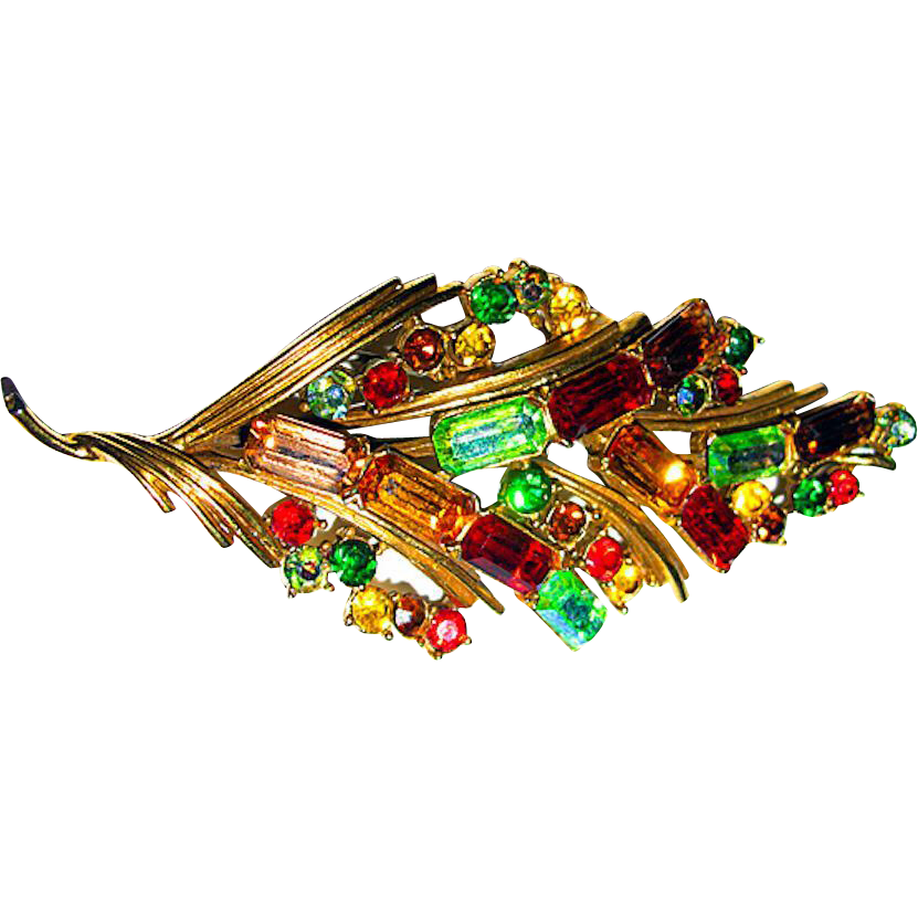 Beautiful Large Colorful Sparkling Rhinestone Brooch by CORO