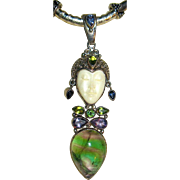 Gorgeous 1990's Sajen Sterling Gemstone Balinese Goddess Pendant Necklace