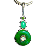 Gorgeous Sajen Sterling Gemstone Nephrite Jade and Chalcedony Pendant Necklace