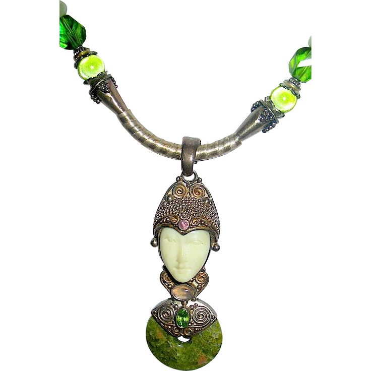 Gorgeous Late 1980's Sajen Sterling Gemstone & Unakite Balinese Goddess Pendant Necklace