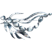 Amazing Modernist Organic Antiqued Silver Brooch by Delphine Nardin Paris