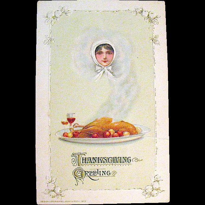 Winsch 1913 FANTASY Thanksgiving Postcard Designed by Samuel Schmucker