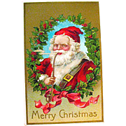 German Christmas Postcard, Jolly Santa Claus Smoking a Long Pipe