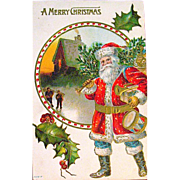 Great American Santa Claus Delivering Christmas Gifts Postcard