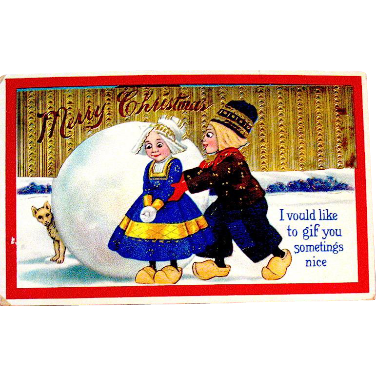 This Barton & Spooner Christmas Postcard Has Delightful Graphics, Heavy Gold, Perfect GEL