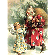 German Christmas Postcard, Unusual Santa Claus & Angel