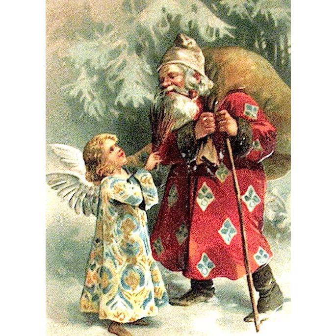 German Christmas Postcard, Unusual Santa Claus & Angel