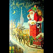 1907 National Art Publishing Co. Santa Claus & Reindeer Postcard