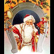 Handsome Santa Claus Good Luck Christmas Postcard