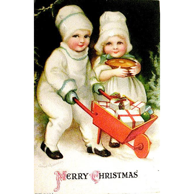 Adorable Clapsaddle Christmas Postcard, Children w Gifts