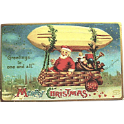 Rare Clapsaddle Postcard, Santa Claus Under Dirigible Postcard