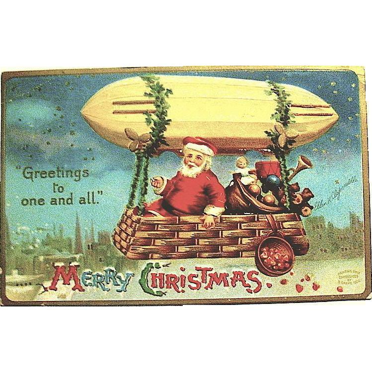 Rare Clapsaddle Postcard, Santa Claus Under Dirigible Postcard