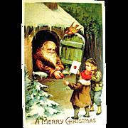 Beautiful Christmas Postcard, Santa Claus in Monk's Attire & Children