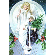 1909 Christmas Postcard—Angel & Child in Hot Air Balloon