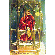Rare German Postcard, Victorian Bell Ringer Announces New Year