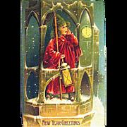 Rare German Postcard, Victorian Bell Ringer Announces New Year