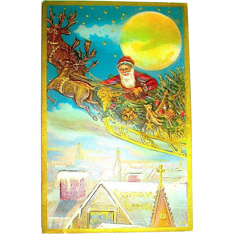 HTF Christmas Postcard, Santa Claus Transported by Reindeer Over City