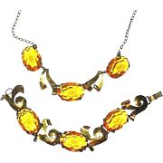 CORO Sterling Vermeil Citrine Necklace & Bracelet Set
