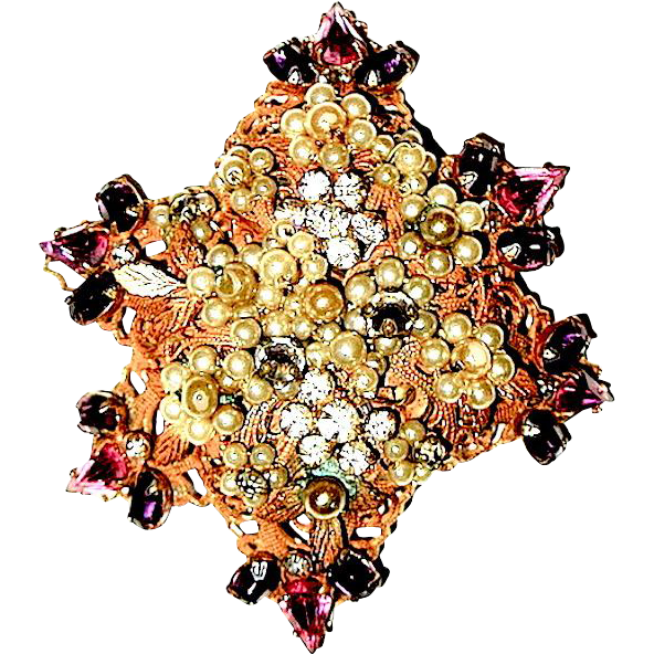 "Beautiful ""Original by Robert"" Pink & Clear Rhinestone, Seed Pearl Brooch"