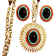 """Gorgeous """"ART"""" signed  Egyptian Revival Bejeweled Necklace & Earrings Set"""