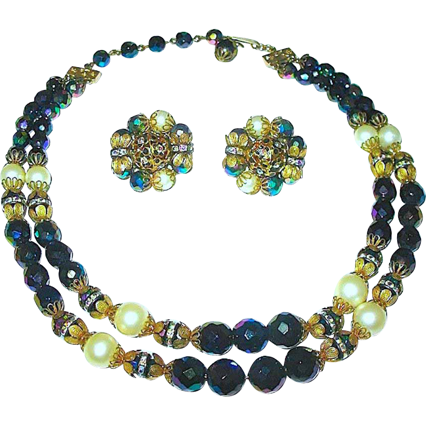 Gorgeous Vintage Hobe' Signed Dazzling Double Strand Necklace & Earrings Set