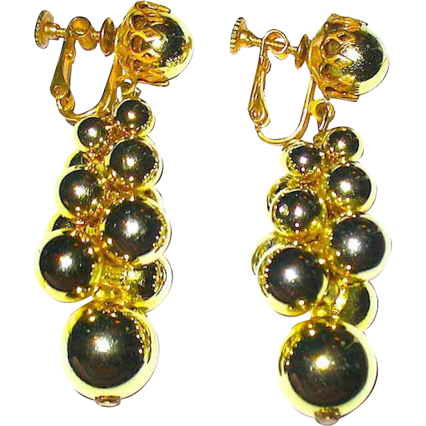 Miriam Haskell Beautiful Bright Bubble Cluster Earrings—WOW