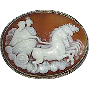 Rare Carved Natural Shell Cameo Brooch/Pendant, Hera with Athena in Chariot