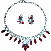 Gorgeous Vintage Rhodium Ruby Red & Clear Crystal Necklace and Earrings