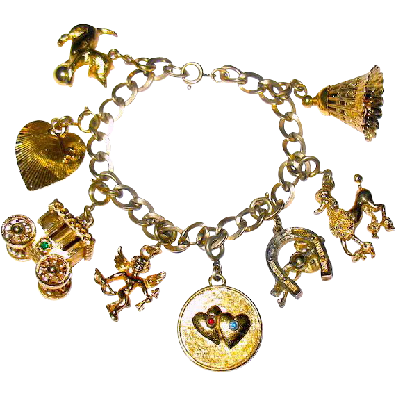 Vintage 50's Retro Figural Charm Bracelet with Eight Charms