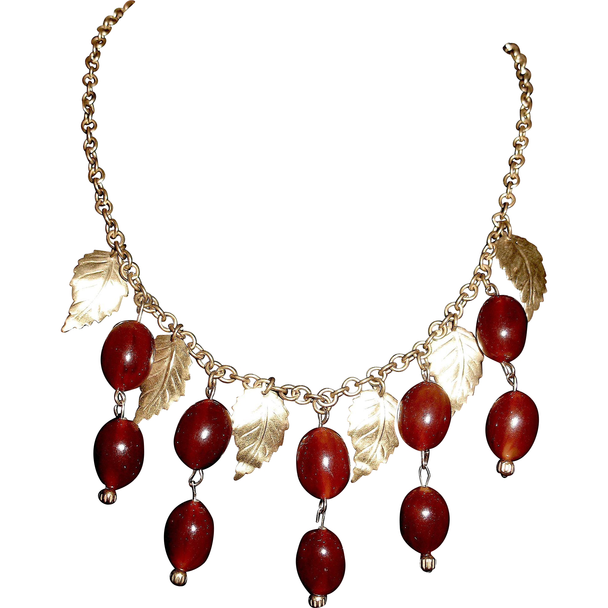 Gorgeous Vintage Bakelite Bib Necklace w Bakelite Acorns and Brass Leaves