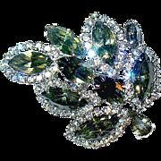 "Vintage ""WEISS"" Dazzling Dark Marquise Cut Crystal Brooch"